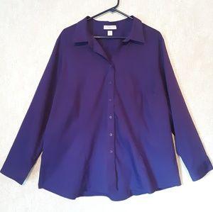 Coldwater Creek purple button down blouse shirt 3X